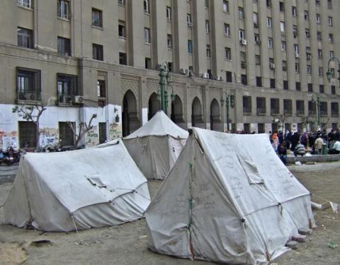 Tents on Tahrir Square, Egypt
